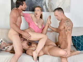Women doing men with double dildo